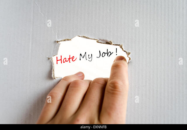 Hate My Job Concept Isolated Over White Background - Stock Image