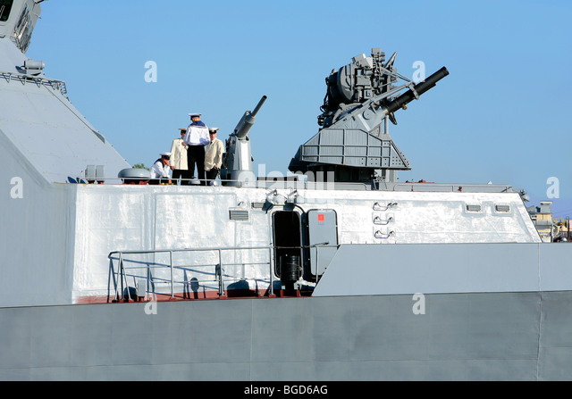 The Russian Corvette RFS 530 Steregushchy during a naval parade in Saint Petersburg, Russia - Stock Image
