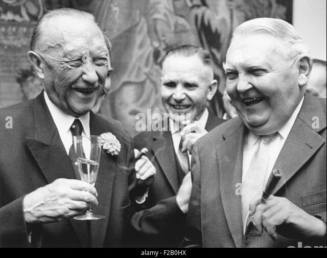West German Chancellor Konrad Adenauer (left), and Chancellor designate Ludwig Erhard. Sept. 25, 1963. They were - Stock Image