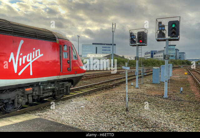 Virgin East Coast Mainline Train,Aberdeen Railway Station,Scotland,UK - Stock Image