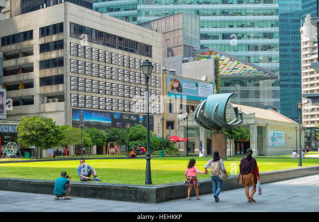 Business district near Raffles square, Singapore - Stock Image