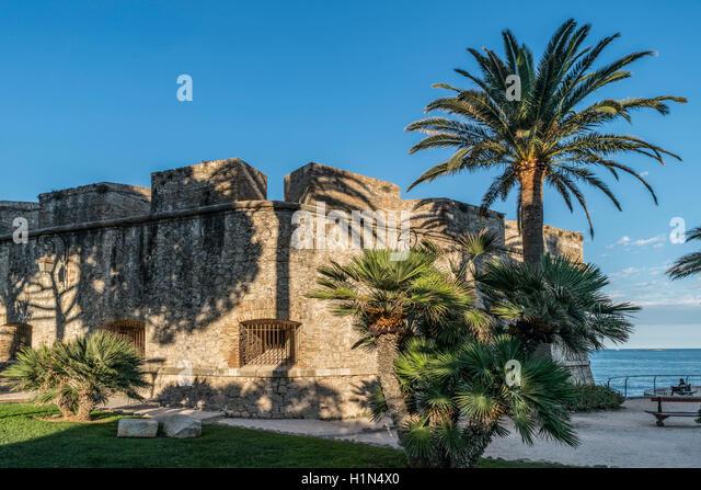 Musée d'Archéologie, Archaeology museum, Fort Saint-Andre, stone defensive, Bastion Saint Andre, Antibes, - Stock Image
