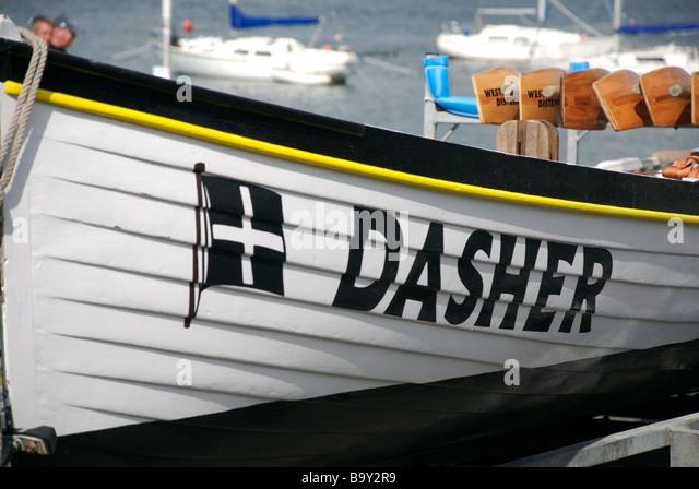 Dasher name on a gig racing boat, Saltash, Cornwall, UK - Stock Image