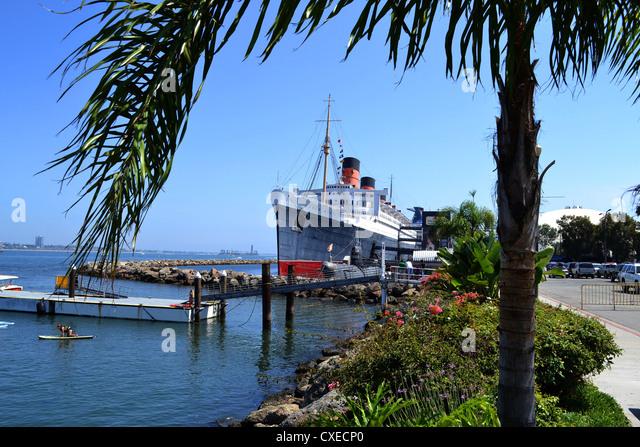 Queen Mary at Long Beach, California, USA - Stock Image