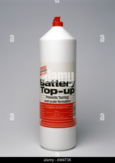 Top up fluid for lead acid car battery - Stock Image