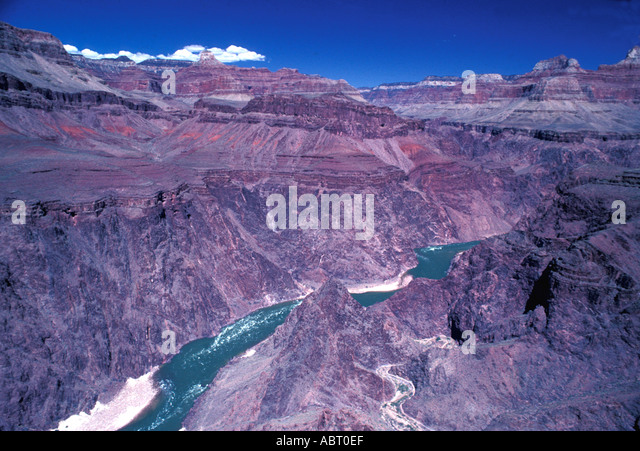 Grand Canyon Arizona with the Colorado River and nobody on clear day - Stock Image