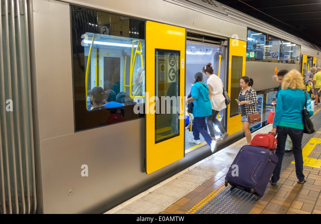 Sydney Australia NSW New South Wales CBD Central Business District Wynyard Railway Station City Circle Line train - Stock Image