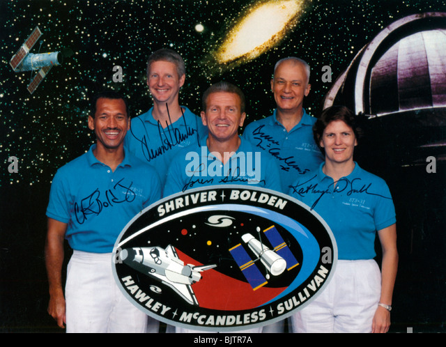 The crew of Space Shuttle Mission STS-31, 1990. - Stock Image