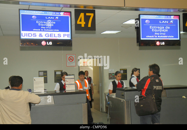 Lima Peru Jorge Chávez International Airport LIM aviation terminal departures LAN airline carrier ticker counter - Stock Image