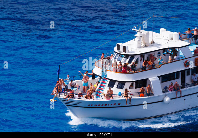 "Cruise ship ""Aphrodite II"" at Cape Greco, Cyprus. - Stock Image"