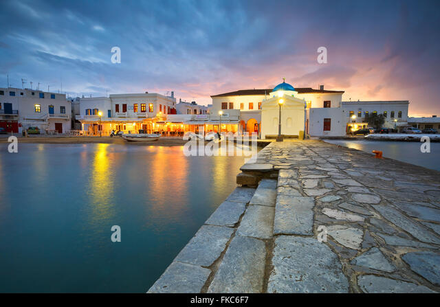 Town of Mykonos as seen from the old harbor. - Stock Image