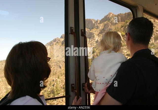 Albuquerque New Mexico Sandia Peak Aerial Tramway world's longest family view ride W - Stock Image
