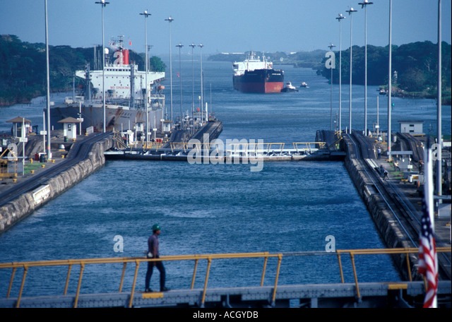Panama Central America Panama Canal Ships at Gatun Locks - Stock Image