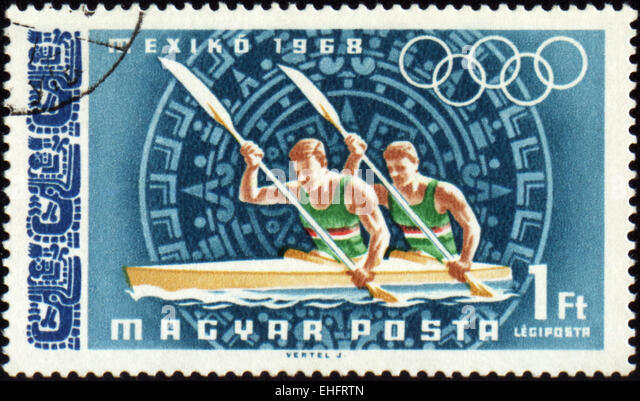 HUNGARY - CIRCA 1968: A post stamp printed in Hungary shows rowing - Stock Image