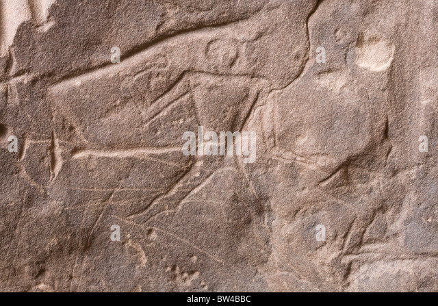 Deep scratched depiction of man holding a round headed mace striding in-to action in the Eastern Desert, Egypt - Stock Image