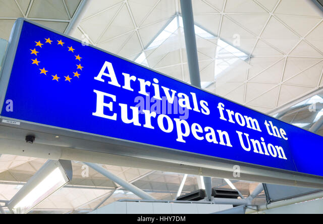 Arrivals from the European Union customs channel at Stansted Airport, England, UK - Stock-Bilder