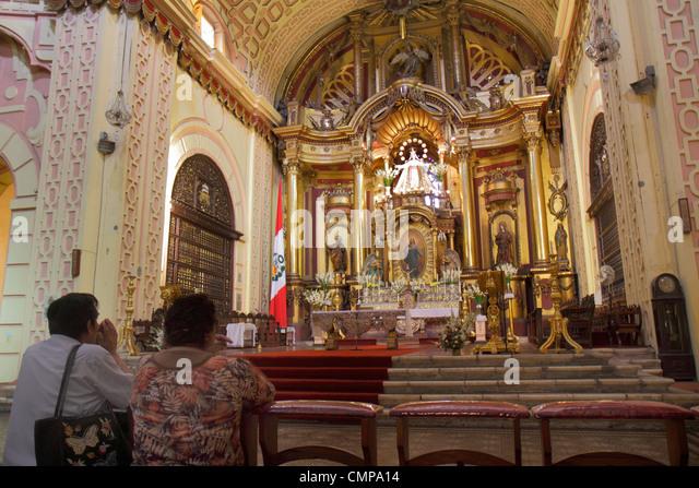 Peru Lima Jiron de la Union historic district Iglesia de la Merced Our Lady of Mercy Basilica Catholic church religion - Stock Image