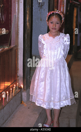 Portrait of young girl at Tihar Fistival of Lights third day Deepawali Kathmandu Nepal - Stock Image