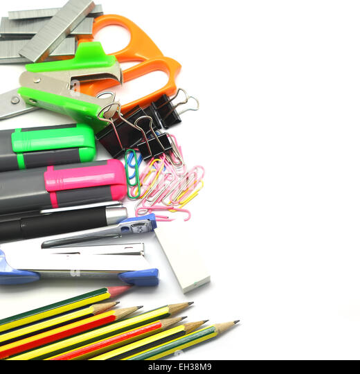Group of various stationary as background - Stock Image