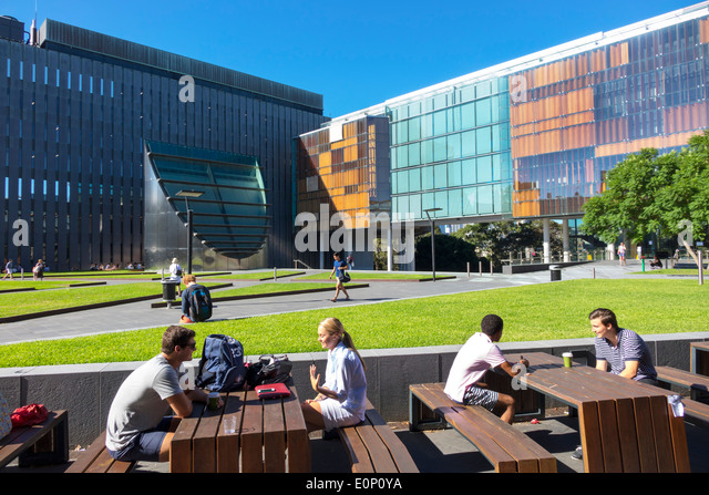 Sydney Australia NSW New South Wales University of Sydney education campus student woman man teen New Law Building - Stock Image