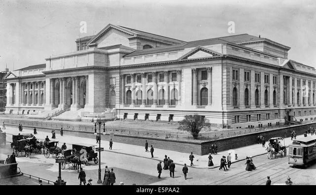 New York Public Library, New York City, 1908 - Stock Image