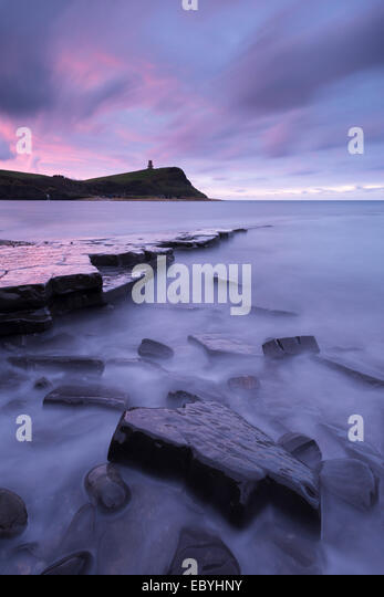 Kimmeridge Bay at dawn, Jurassic Coast, Dorset, England. Autumn (November) 2014. - Stock Image