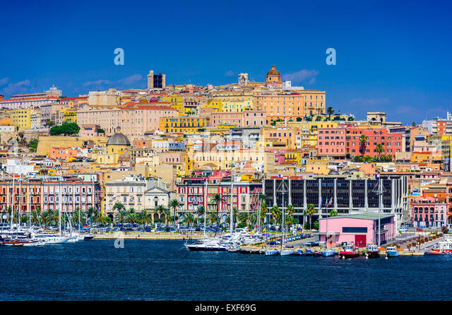 Cagliari, Sardinia, Italy coastal skyline on the Mediterranean Sea. - Stock Image