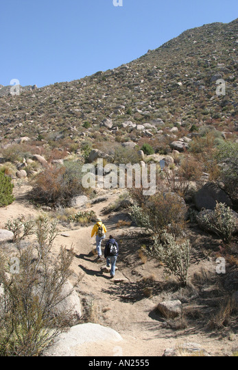 New Mexico Albuquerque Sandia Peak hikers W - Stock Image