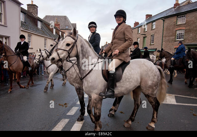 Grey horse and rider at Hay on Wye Boxing day hunt meet - Stock Image