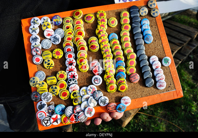 Anti-nuclear badges - Stock Image