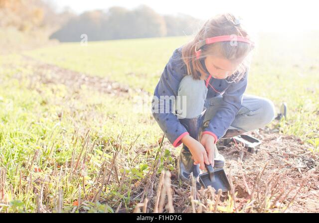 Girl with metal detector crouching and digging with spade in field - Stock Image