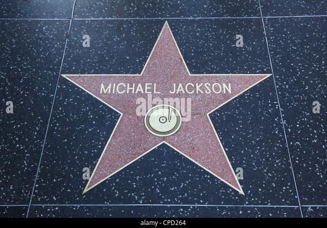 Michael Jackson, Star, Hollywood Walk of Fame, Hollywood Boulevard, Hollywood, Los Angeles, California, USA - Stock Image