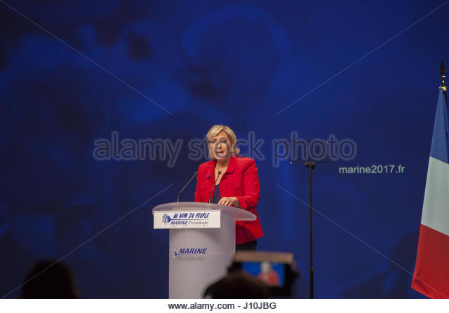 Paris, France. 17th Apr, 2017. French presidential election candidate for the far-right Front National (FN) party - Stock Image
