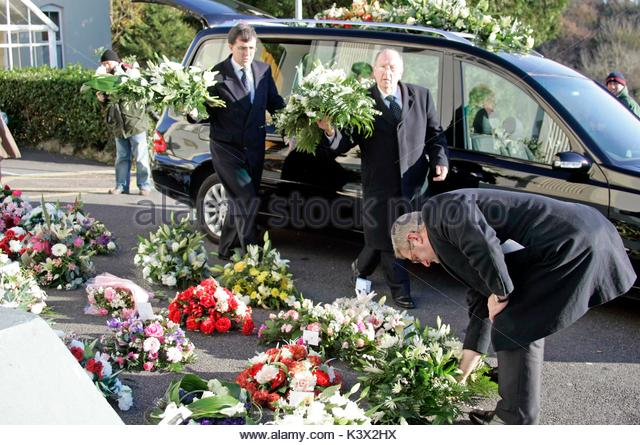 Guests at the funeral of Geraldine O'Keefe, mother of actor Jonathon Rhys Myers of 'The Tudors' at St. - Stock Image