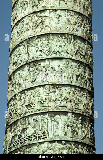 The Austerlitz Column in Place Vendome featuring Napoleon's Military exploits Paris France - Stock Image