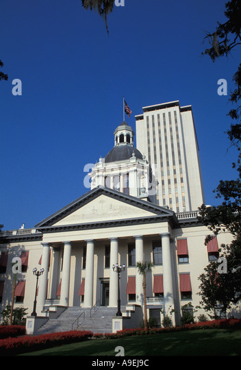 Florida State Capitol Building Tallahassee Old Capitol in front New capitol building tall in the rear - Stock Image