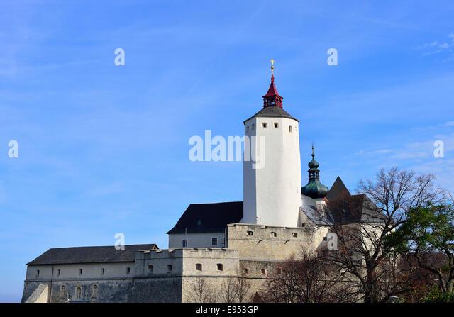 Forchtenstein Castle with its prominent castle keep, Forchenstein, Burgenland, Austria - Stock Image