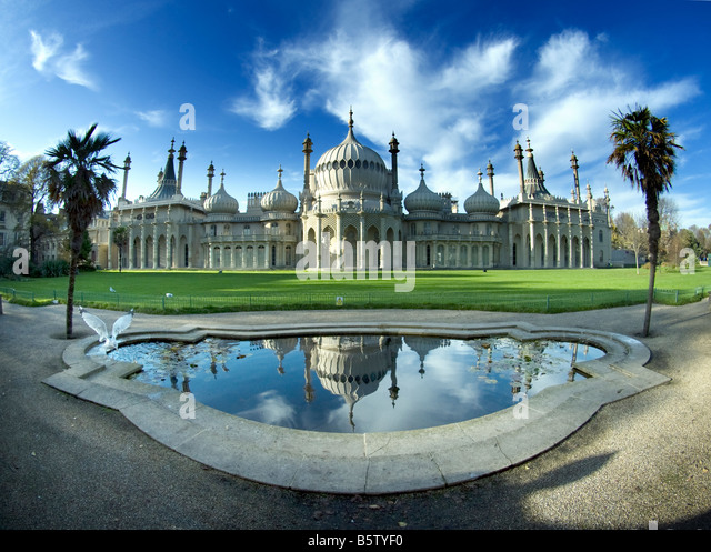 Royal Pavilion, Brighton, Sussex, extreme wide angle - Stock Image