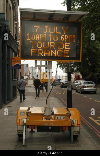 London, UK. 07th July, 2014. A road sign leading into Stratford High Street. Credit:  Credit:  david mbiyu/Alamy - Stock Image
