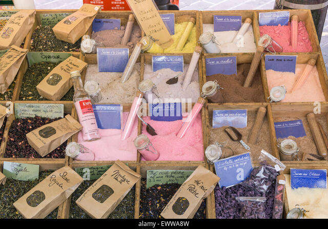 France, Nice,old city center,  market stall , salt and spicesAvignon, Bouche du Rhone, France - Stock Image