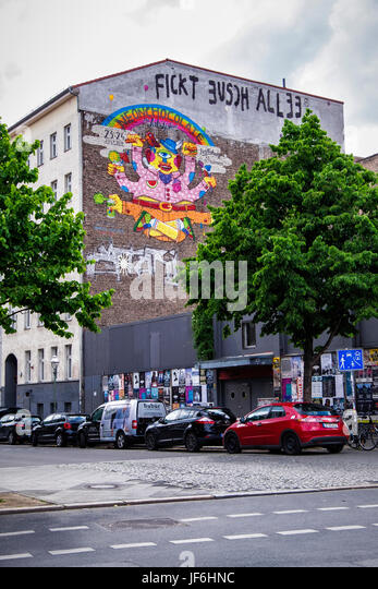 Colourful Arts Festival wall artwork on Kreuzberg wall,street art mural 'Neon Chocolate' by Martin Krusche, - Stock Image