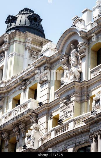 Spain Europe Spanish Madrid Centro Calle Gran Via 10 Seguros La Estrella building Jeronimo Mathet Rodriguez architect - Stock Image