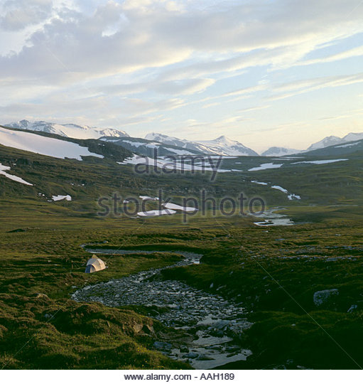 Sulitjelma mountains, Norwegian Swedish border, from the Staddajakka river, Padjelanta National Park, Norrbottens - Stock Image