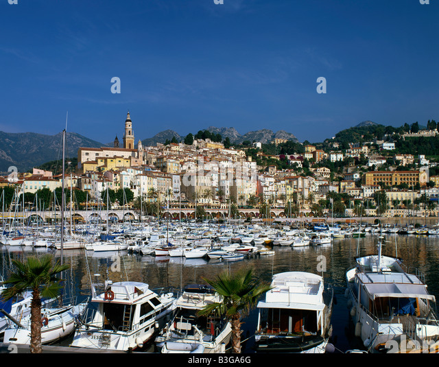 South France Menton little harbour old city center - Stock Image