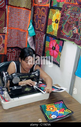 Panama City Panama Panama Viejo Ruinas Panama La Vieja store handicrafts Kuna Indian mola shopping souvenirs display - Stock Image
