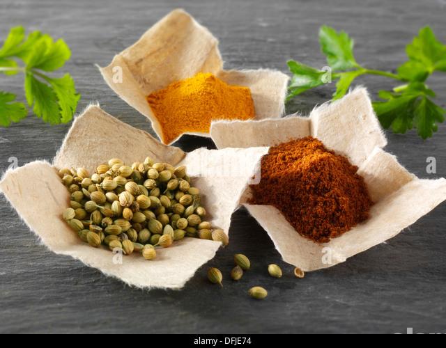 Coriander seeds, ground chilli powder & ground turmeric Indian spices - Stock Image