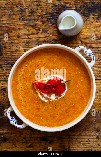Roast pepper and tomato soup - Stock Image