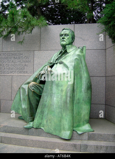 Statue of United States President Franklin Delano Roosevelt in Washington DC USA - Stock Image
