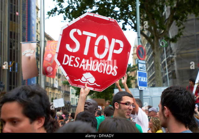 -Stop Evictions- Indignants Movements 15M, Demonstration Barcelona (Spain). - Stock Image