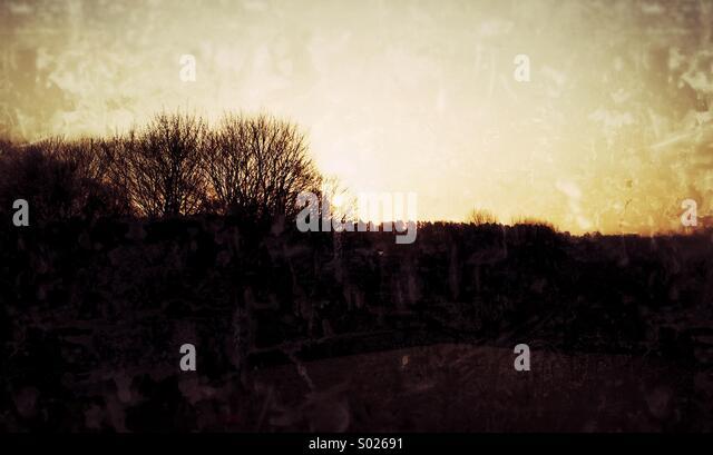 Kingston Playing field Woodbridge, suffolk, Woodbridge boot camps, early morning on playing field - Stock Image